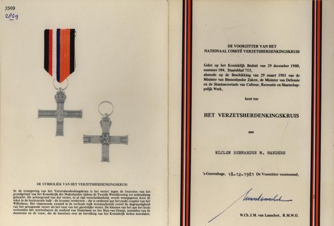 Echtpaar manders  beijers - 36a-5-oorkonde-verzetsherdenkings-kruis-bernard-manders