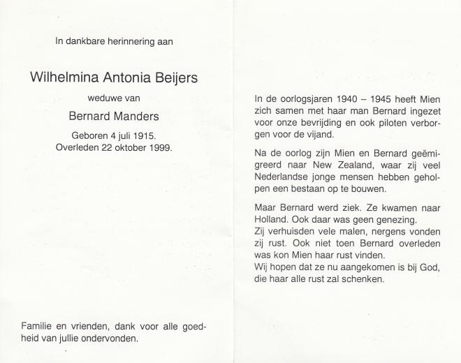 Echtpaar manders  beijers - beijers-wilhelmina-a-04-07-1915-22-10-1999-1