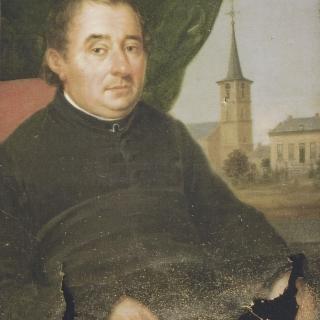 022-Pastoor Scheutjens, eerste pastoor van Milheeze met naast hem misschien wel de eerste foto van Milheeze. Dit unieke schilderij hangt nu links in de kerk in Milheeze.